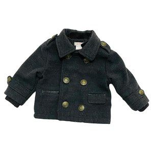 Dark Grey Plaid Lined Infant Pea Coat